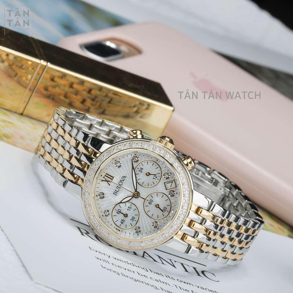 Đồng Hồ Bulova 98R214 Nữ Chronograph Đính Diamond 30mm