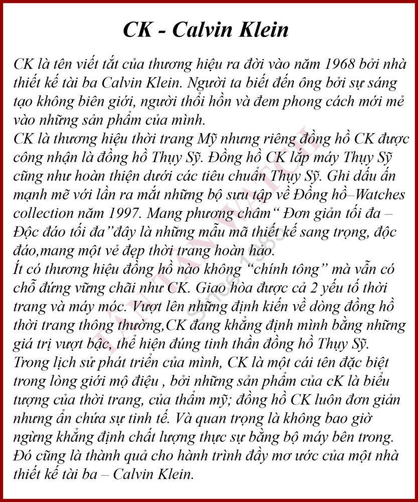 Calvin Klein - Đồng Hồ Tân Tân