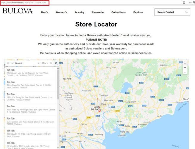 Hệ thống cửa hàng đồng hồ Bulova tại Việt Nam 2020